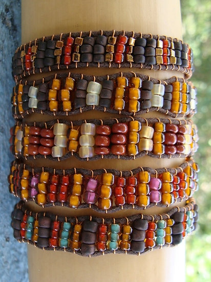 Earth Tone Glass Beaded Friendship Bracelets