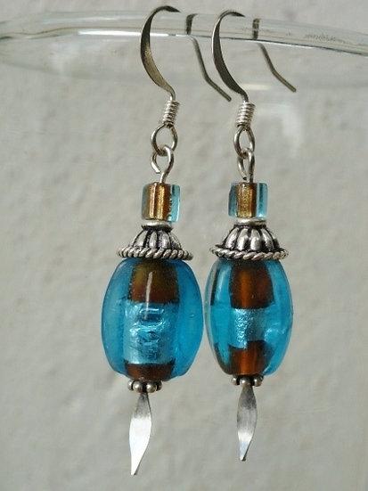 Chic Small Drop Aqua Glass Bead Earrings