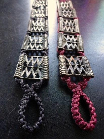 brown macrame and tribal brass metal bracelet