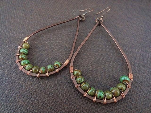 Chic Green Ceramic Bead Copper Teardrop Earrings
