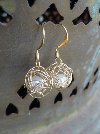 Chic Small Drop Caged Pearl Gold Earrings
