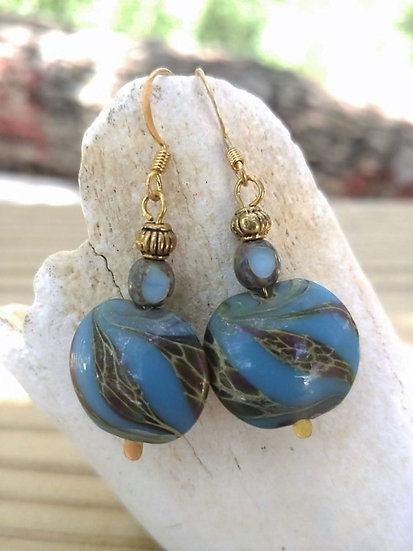 Affordable Big Blue Artisan Glass Bead Earrings