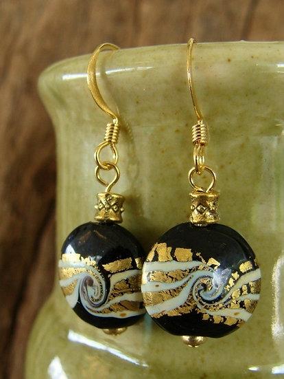 Small Drop Black Artisan Glass Earrings