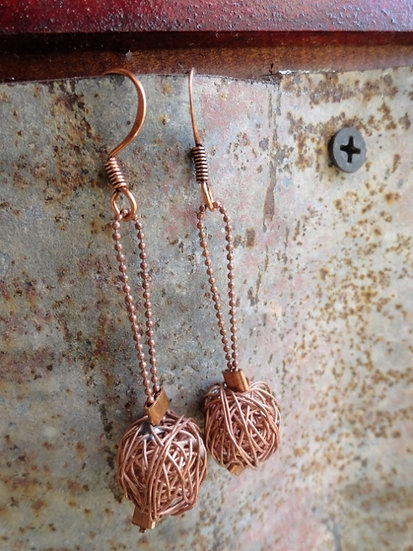 Sexy Long Dangle Copper Wire Bead Earrings