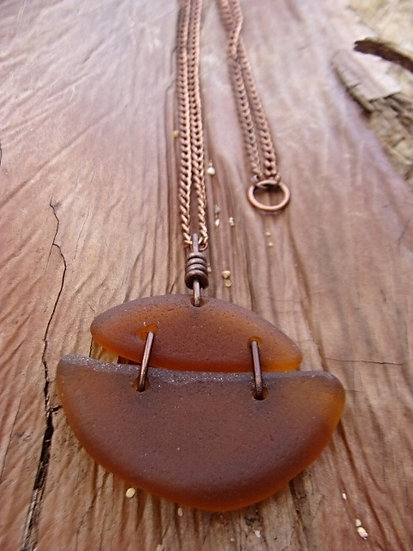long brown bottle bottom sea glass necklace