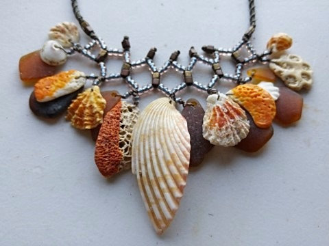 natural orange sea shell, coral & brown sea glass nonmetal necklace