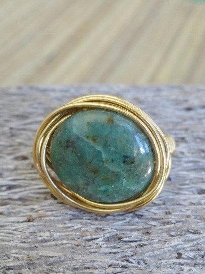 Brass Bird's Nest Green Jade Natural Gemstone Ring
