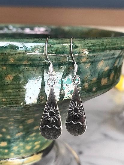 silver sun small kid earrings