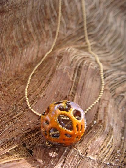 Metal & Orange Enamel Artisan Glass Bead Necklace