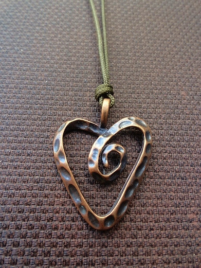 Cute Antiqued Copper Heart Kid Necklace