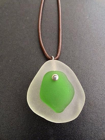 white & green sea glass necklace for men