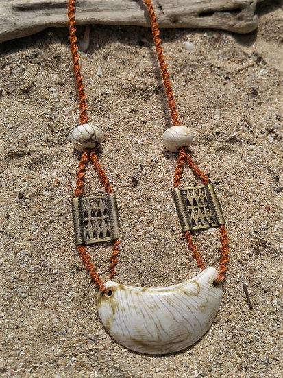 Orange Macrame Old Brass & Natural Shell Necklace
