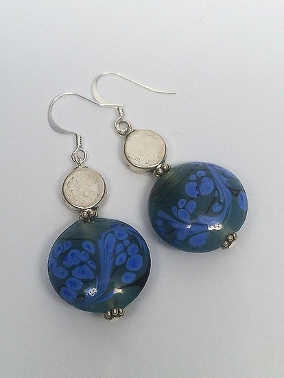 Big Drop Silver & Blue Artisan Glass Bead Earrings