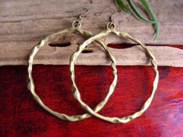 Sexy Big Antiqued Brass Metal Hoop Earrings