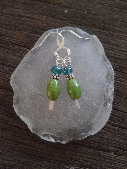 Chic Small Chartreuese Green Glass Bead Earrings
