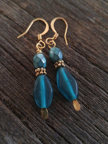Chic Small Drop Teal Glass Bead Earrings