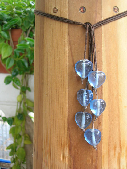 Sky Blue Heart Glass Bead Necklace