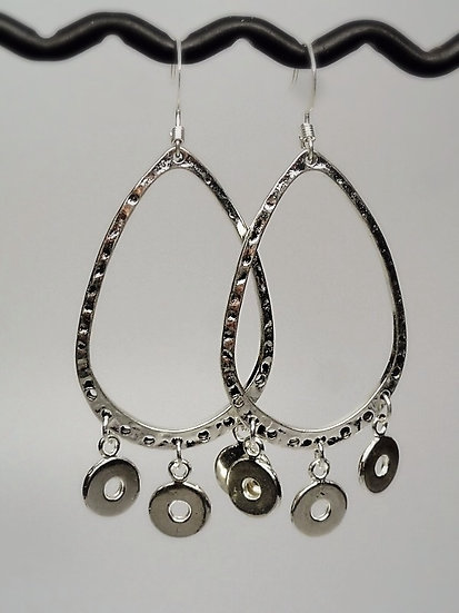 silver teardrop chandelier earrings