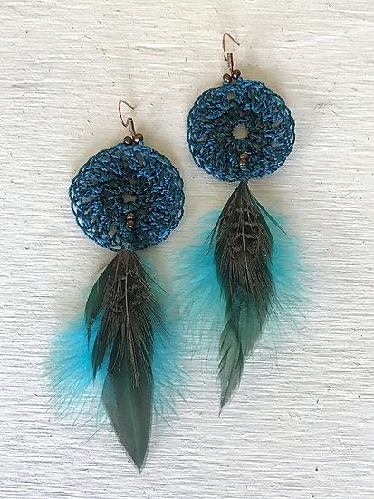 teal & aqua crochet long feather earrings