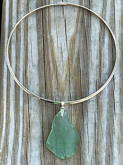 seafoam green genuine sea glass choker necklace