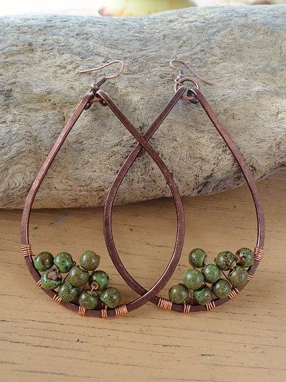 Sexy Green Ceramic Bead Copper Teardrop Earrings