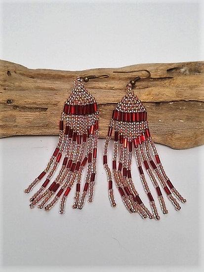 Sexy Long Dangle Gold & Red Glass Bead Earrings