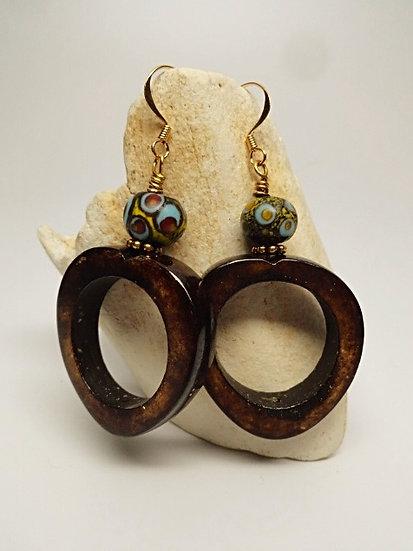 blue glass bone hoop earrings