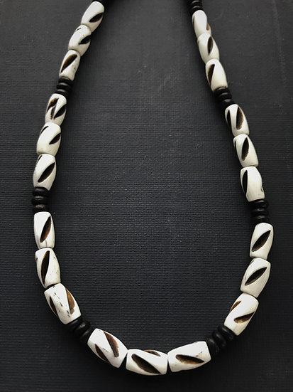 black & white bone men's surf necklace