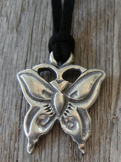 Cute Pewter Butterfly Kid Necklace
