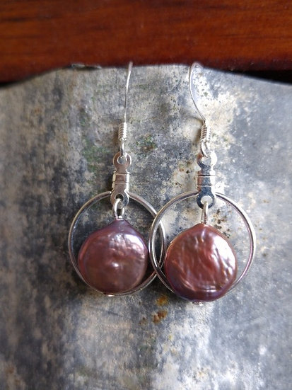 Chic Round Silver Framed Pink Pearl Earrings