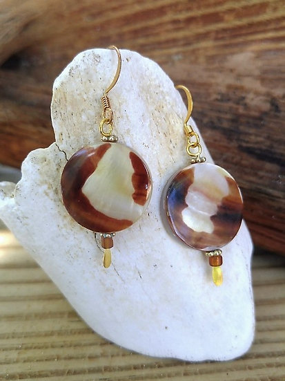 Chic Small Round Mother of Pearl Shell Earrings