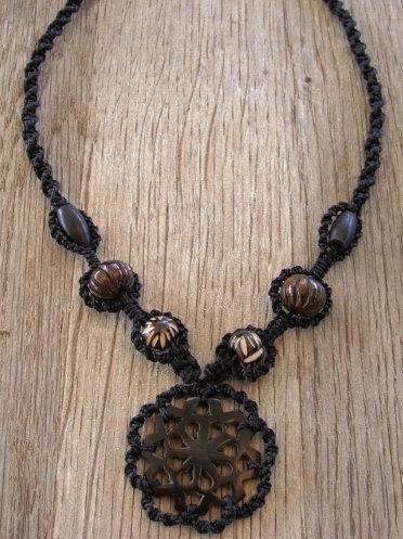 Non-Metal Macrame Carved Black Horn Necklace