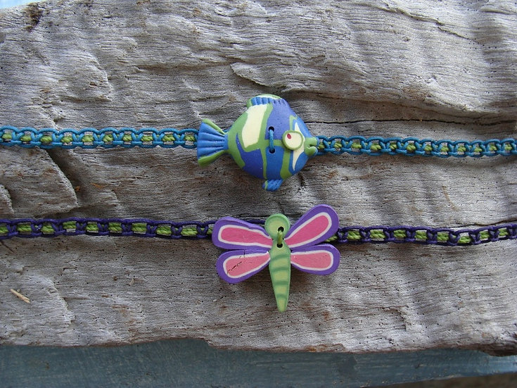 Nonmetal Macrame Fish & Dragonfly Kid Necklaces