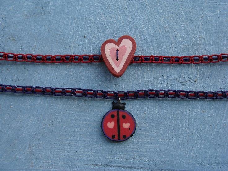 Nonmetal Macrame Heart Lady Bug Kid Necklaces