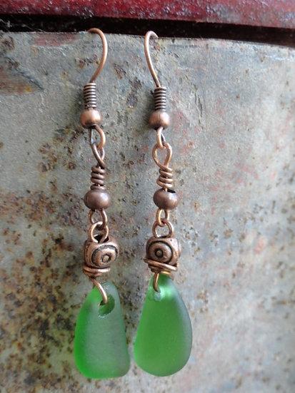 Sexy Long Dangle Green Sea Glass Earrings