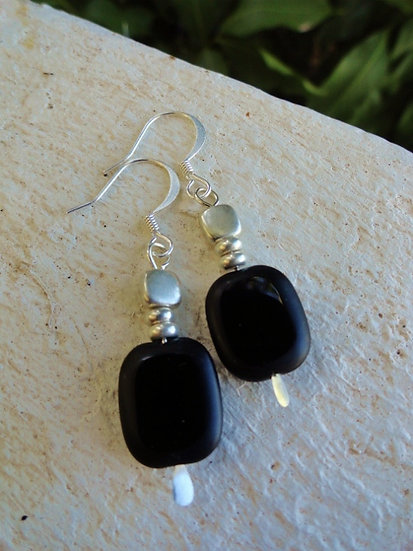 Small Drop Chic Black Glass Bead Earrings