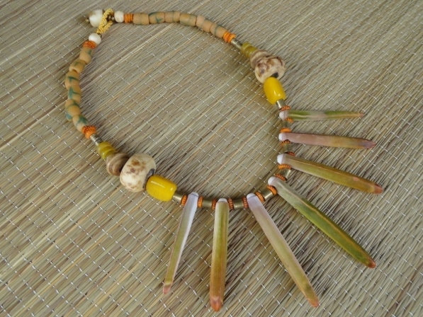 African Bead & Sea Urchin Spine Natural Shell Necklace