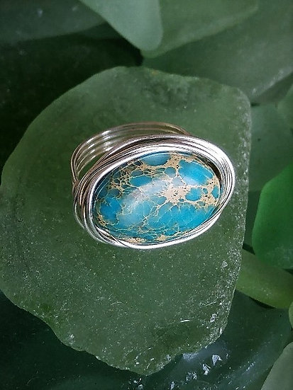 Silver Bird's Nest Turquoise Natural Gemstone Ring