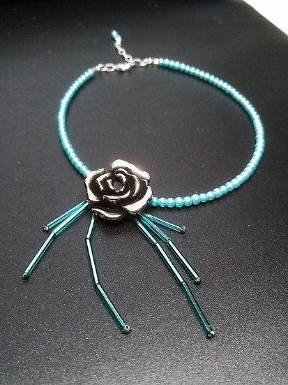 antiqued silver rose & seafoam pearl choker necklace