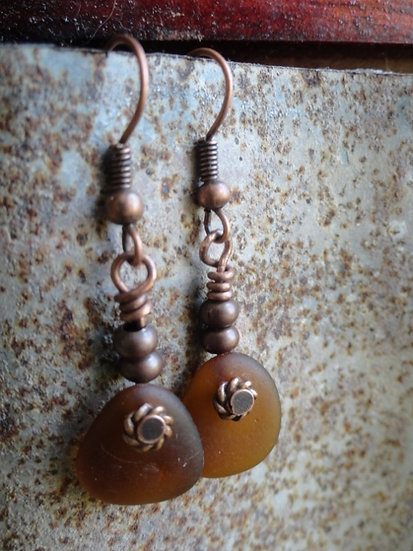 Cute Teardrop Dangle Brown Sea Glass Earrings