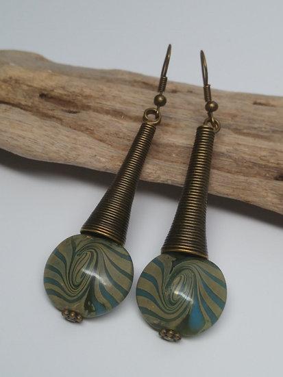Tribal Sexy Long Brass Aqua Artisan Glass Earrings