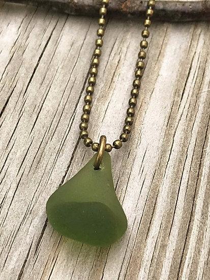 men's olive unique sea glass necklace