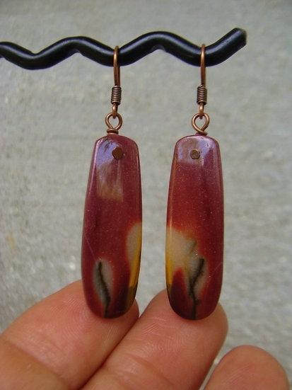 Small Drop Red Jasper Natural Gemstone Earrings