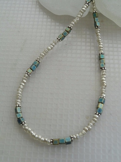 Affordable Silver & Aqua Glass Bead Sexy Anklets