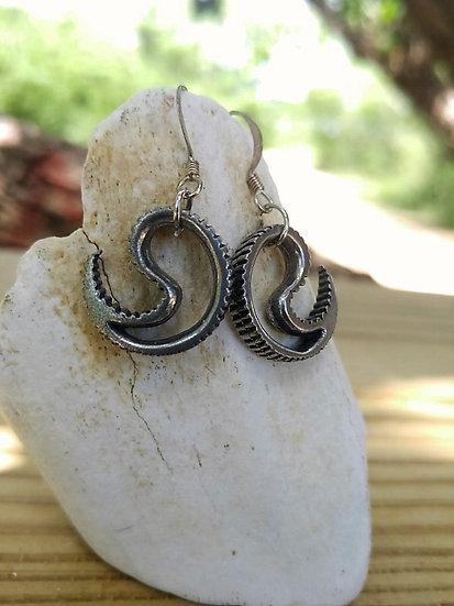 Small Drop Pewter Metal Yin Yang Earrings