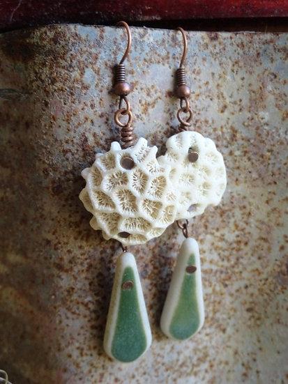 Long Dangle Ocean Pottery & Natural Coral Earrings
