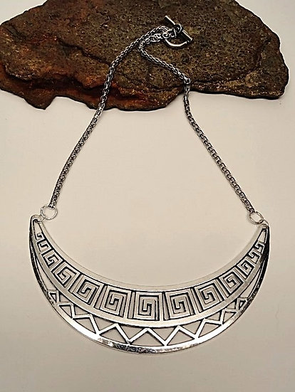 grecian antiqued silver collar necklace