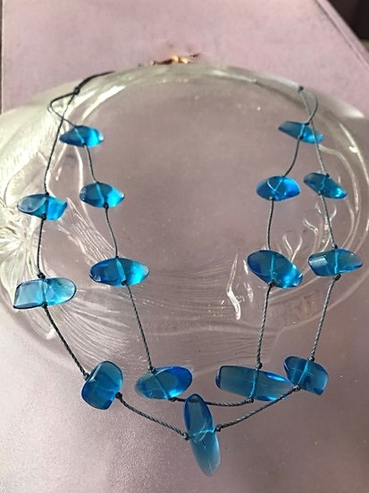 tiered aqua glass necklace