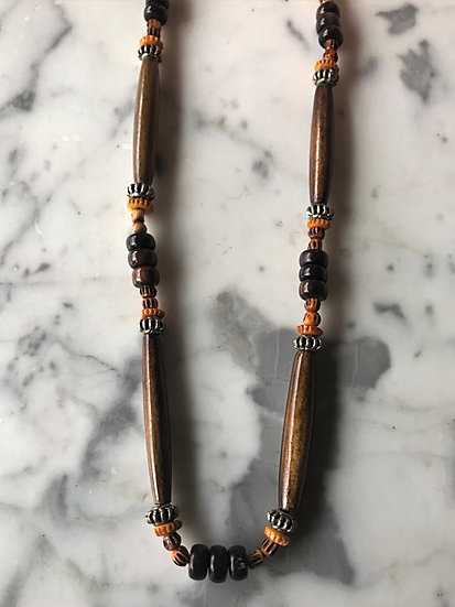brown & orange men's surfer necklace