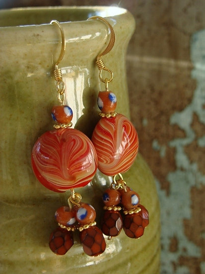 Orange Dangle Chandelier Artisan Glass Bead Earrings